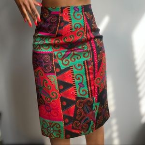 Abstract Vintage High Waisted Straight  Skirt